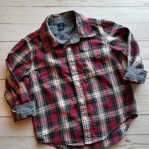 Gap Toddler 3T Boys button down shirt, plaid